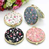 1pc Mini Makeup Compact Pocket Floral Mirror Portable Two-side Folding Make Up Mirror Women Vintage Cosmetic Mirrors For Gift