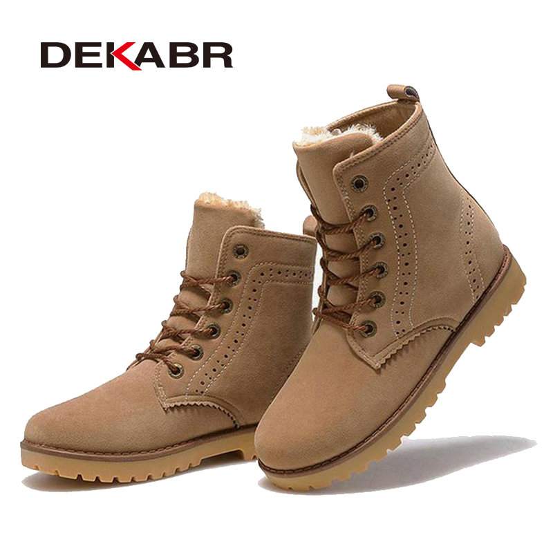 DEKABR High Quality Men Boots Winter Snow Warm Casual Shoes Men Boots  Leather Plush Fur Fashion Unisex Lovers Boots Size 35 44-in Basic Boots  from Shoes on ... 01d5ee8c186