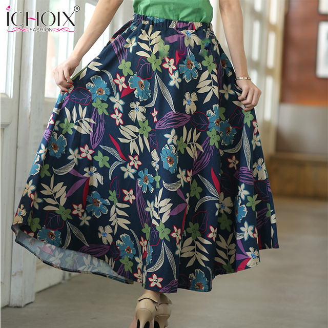 1a992caf7786 Women Summer Pleated Maxi skirt Big swing folk-custom ethnic Style linen  long skirts Ankle Length Printed skirt Saia Female