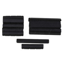 Yibuy 10 x Black Ebony Bridge Saddles and Nuts for 4 Strings Guitar Replacement