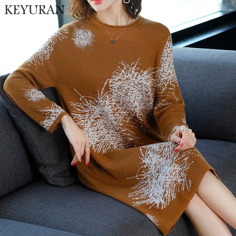 Autumn Winter Knitted Dresses Women Fashion Jacquard Loose Sweater Dress Female Casual Long Sleeve O Neck Party Dress Vestidos