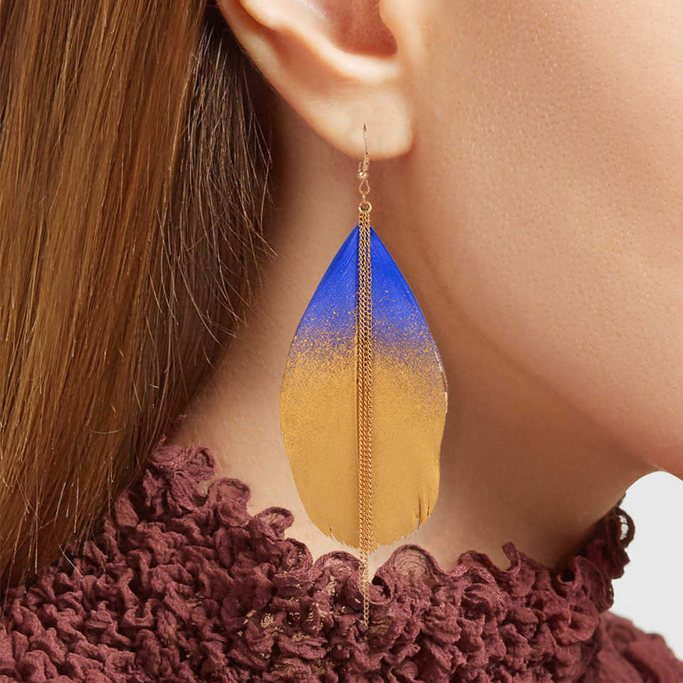 294001ac1 2019 New Two-Color Fluorescent Feather Earring 6 Colors Ethnic Fashion Long  Metal Tassel Dangle