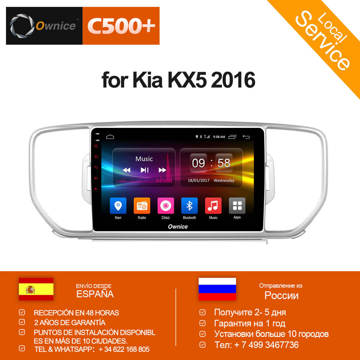 Ownice C500+ G10 Android 8.1 eight Core For KIA Sportage KX5 2016 Car Radio Navi GPS player 2GB RAM 32GB ROM Support 4G DVD ownice c500 android 6 0 octa 8 core car dvd player for suzuki grand vitara android 6 0 wifi 4g gps bt radio 2gb ram 32gb rom