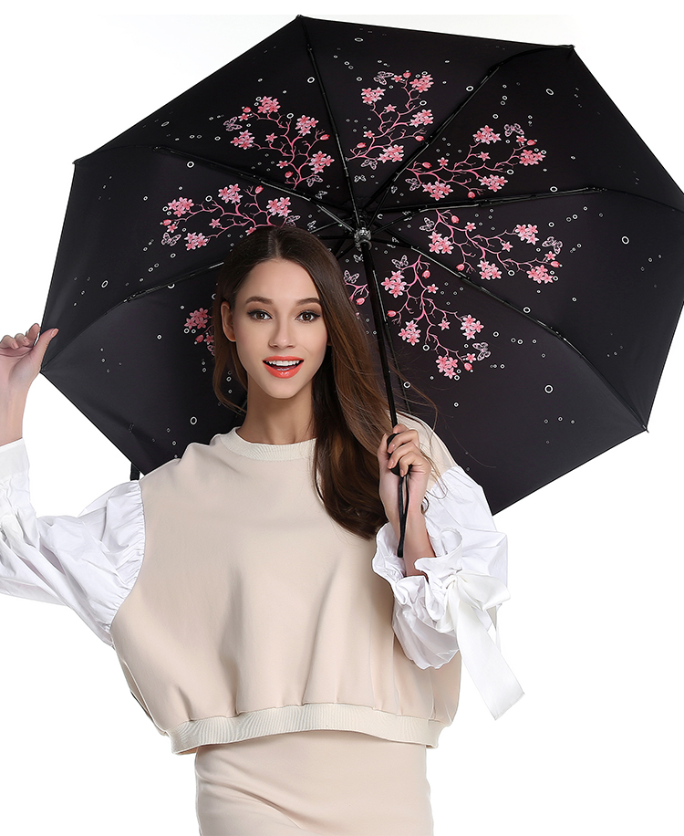 Three fold sunscreen umbrella five times black coating anti-uv alloy fiberglass superlight Sakura cherry flower pocket parasol