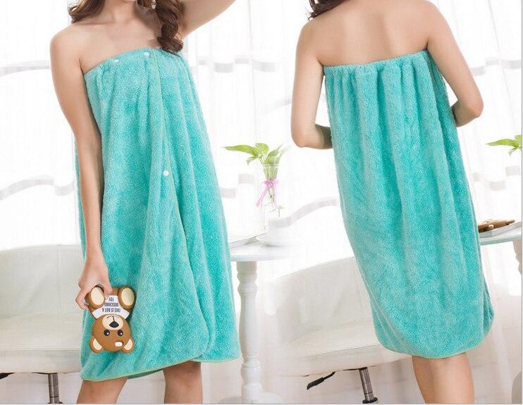 Bath Towel+Hair Set Bathrobes Women Bathing Wearable B-and Coral Cashmere Fleece Women Robe Towels Bath Skirt For Adults