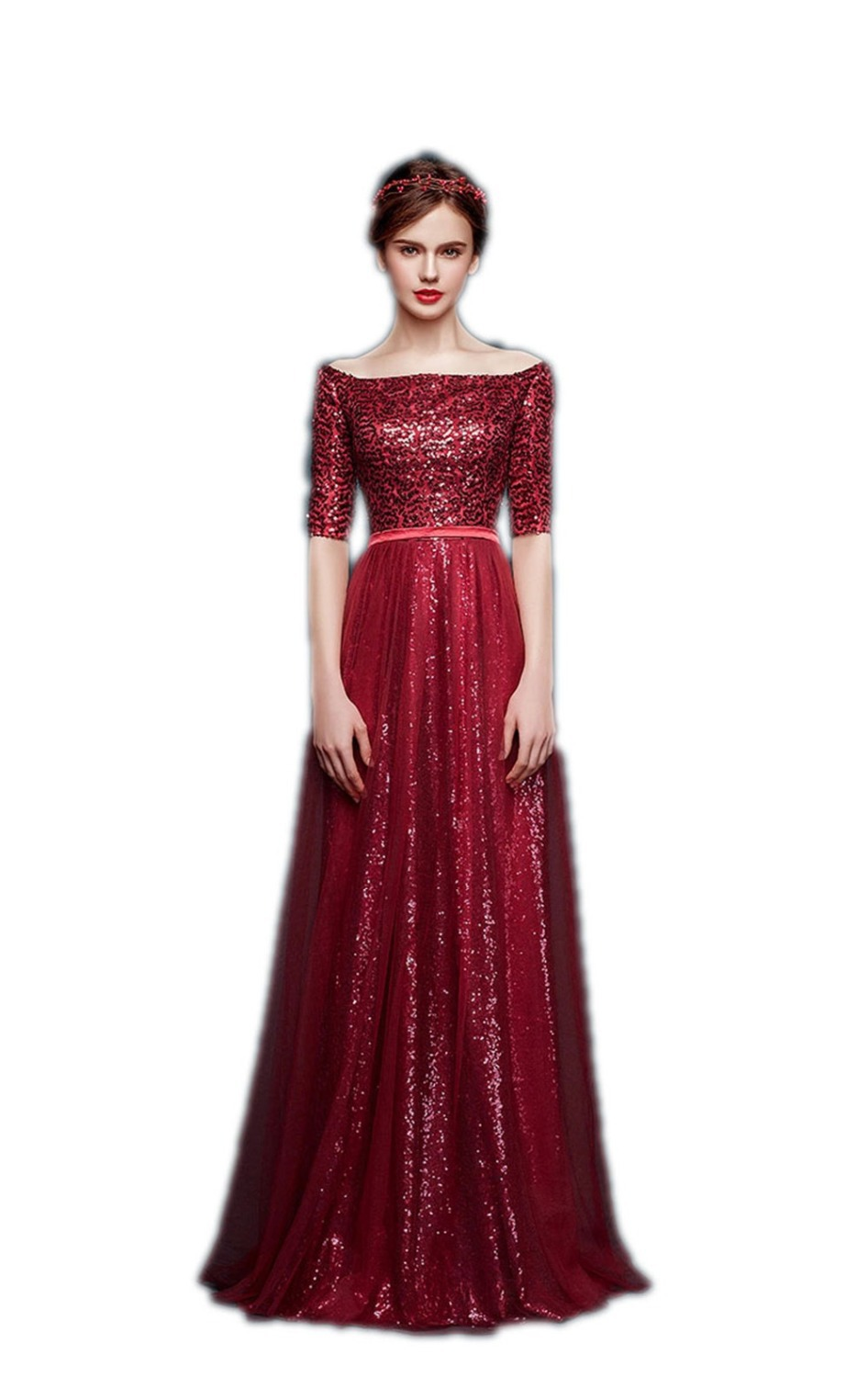 a062e6eaabd 2015 Custom Made Wine Red Long Evening Dress Gown Sequin Bodice Half Sleeve  Off Shoulder-in Evening Dresses from Weddings   Events on Aliexpress.com ...