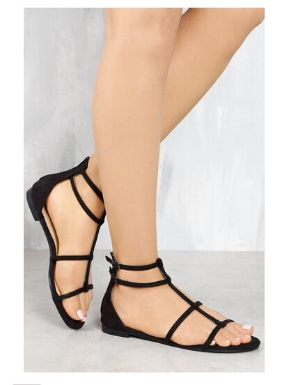 ФОТО LTTL summer women newest sandals open toe buckle strap narrow band cutouts women casual shoes Black, Navy, Nude and Olive