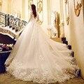 Alibaba Loja de Varejo Colher Tule e Organza Cap Sleeve Lace Applique Vestidos de Casamento com Catedral Trem Vestido De Noiva