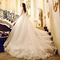 Alibaba Retail Store Scoop Tulle and Organza Cap Sleeve Lace Applique Wedding Dresses with Cathedral Train Vestido De Noiva