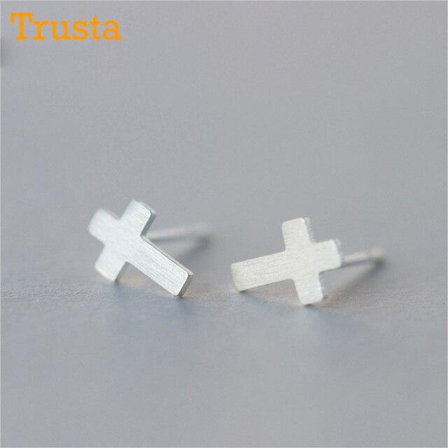 Trusta 2018 New Womens 100 925 Sterling Silver Jewelry Tiny 6mmx8mm Cross Earrings Gift S