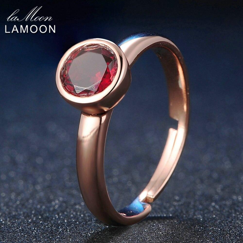 Lemoon 100% Natural Gemstone Classic 6mm Garnet Wedding Ring 925 Sterling Silver Jewelry  Romantic LMRI007