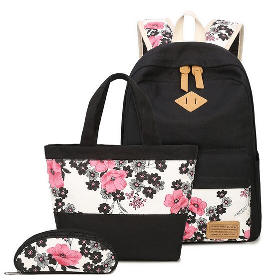 2017 New Large Capacity Canvas Women Backpack Set Casual Plum Blosso Printing Students Teens Girl for