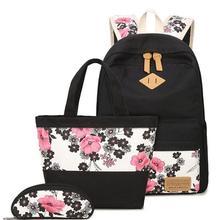Новинка 2017 года большой Ёмкость холст женщины рюкзак повседневный комплект сливы blosso печати студентов подростков для девочек плечо поле сумка карандаш