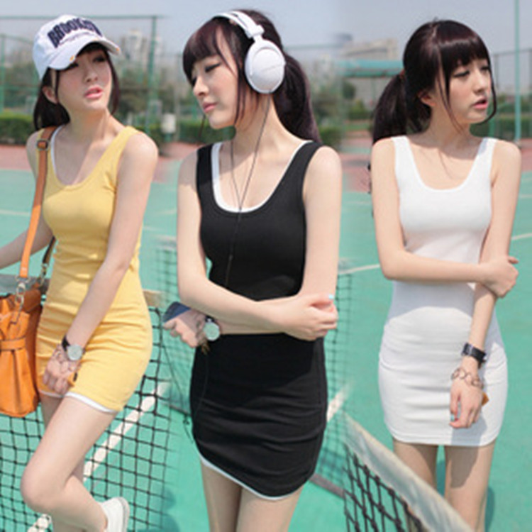 Women Vest Tank-Top Long-Tshirt Bodycon Hot-Sale Cotton Blend