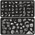 Zj serie 12 diseños : 1 unidades que estampa la placa grande patrón de imagen para el arte de uñas de impresión de transferencia de uñas plantilla Stencil sellos Konad