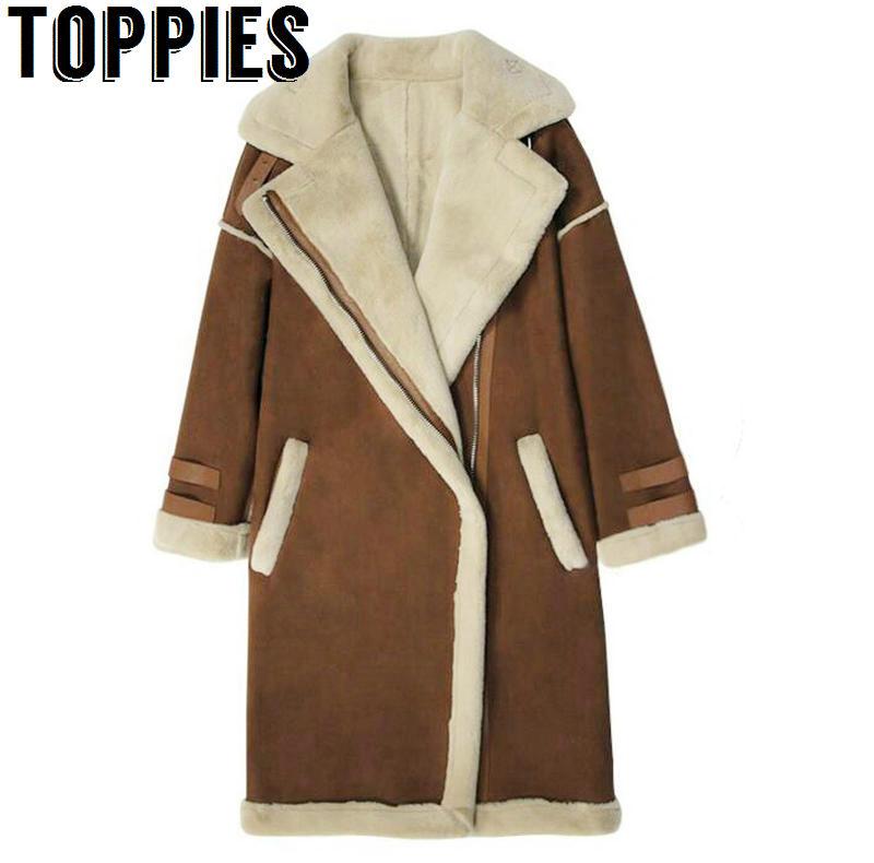 De las mujeres de moda de invierno de lana de abrigo mujer largo grueso  cálido vellón e44d2c6c3590