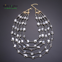 Women fashion multilayer necklace&pandants crystal grey glass beads chain collar big statement maxi jewelry bijoux femme mujer