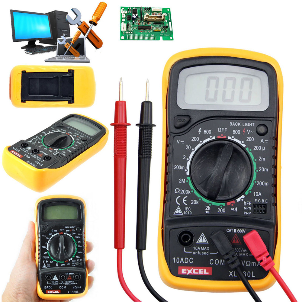 XL-830L Handheld LCD Digital Multimeter 3 1/2 Voltmeter Ohmmeter Multitester F7 diagnostic tool free shipping multimeter 830l handheld digital universal table with multi meter multimeter