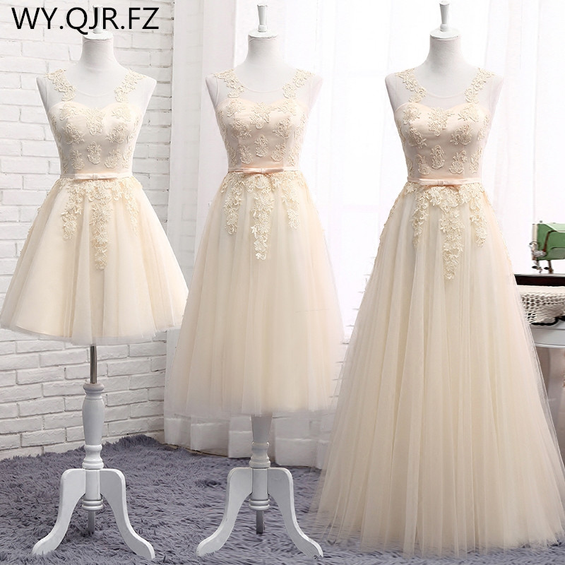 MNZ-510XB#Lace Up Short Medium Long New Champagne Bridesmaid Dresses Autumn Winter 2019 Lace Up Wedding Prom Dress Toasting