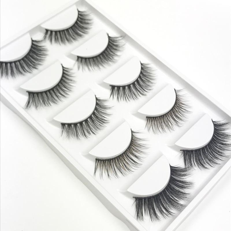 YOKPN 1 Box 5 Styles False Eyelashes Natural Long Thick Fake Eyelashes Beauty Makeup 3D Eyelash Fake Eye Lashes Extension Tools