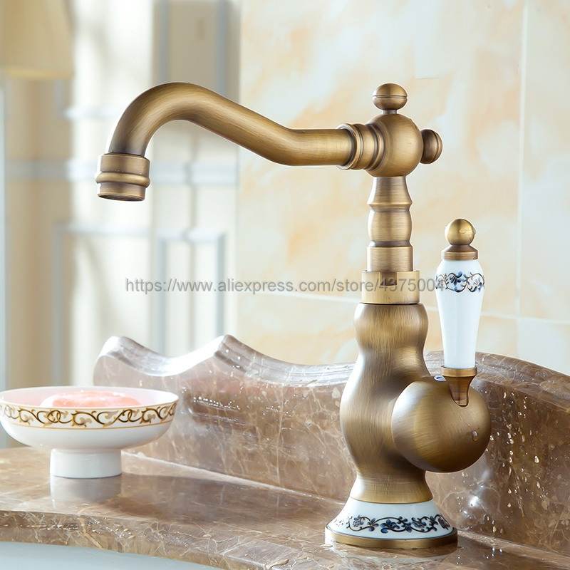 Bathroom Sink Faucet Antique Bronze 360 Degree Turn Basin Faucet Water Tap Single Handle Cold and Hot Water Nnf511
