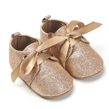New Glitter baby Girls shoes First walkers Crib shoes Newborn Baby Sequins boot soft sole Leopard Baby lace-up bow shoes(China)