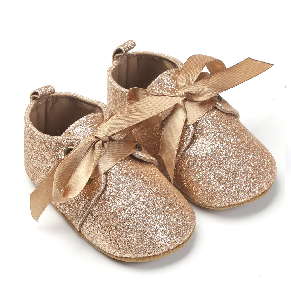 New Glitter Baby Girls Shoes First Walkers Crib Shoes Newborn Baby Sequins Boot Soft Sole Leopard Baby Lace-up Bow Shoes