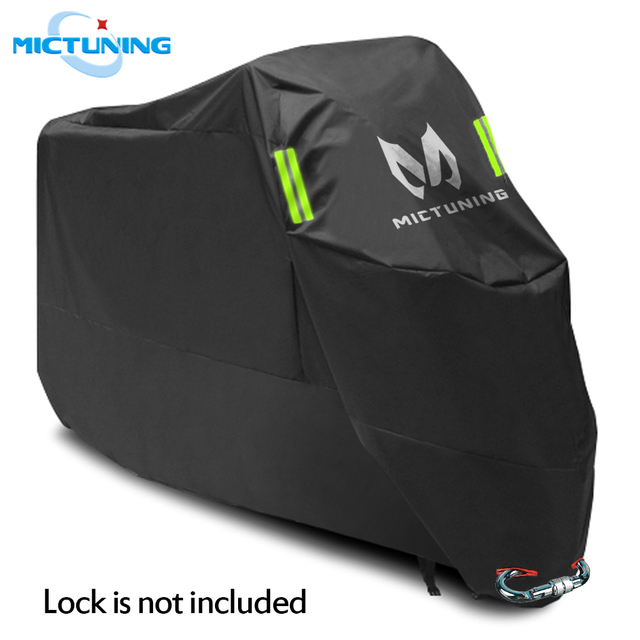 """MICTUNING Universal Motorcycle Cover 210D Oxford Tear Proof Anti thief Lock Hole for 104"""" XXL Motorcycles for Yamaha for Harley"""
