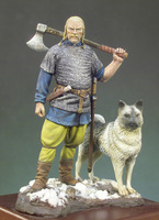 Assembly Unpainted Scale 1 32 54mm Viking Warlord With Dog 54mm Historical Toy Resin Model Miniature