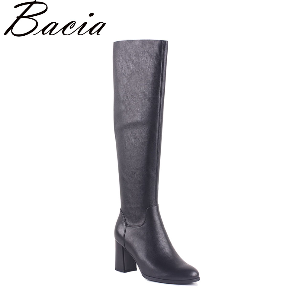 Bacia Over-the-knee Genuine Leather boots Tight Top Elastic PU Black High Boots Zip Size 35-40 High quality 2017 NEW MB003 black zip design plain high waisted pu pants