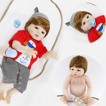 "Full silicone reborn baby boy dolls 22"" new hair color bebes reborn bonecas child play house toys bonecas reborn"