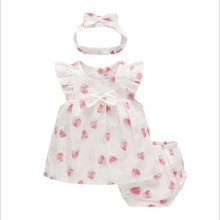 2019 summer new baby girl dress sweet strawberry childrens + shorts headdress to girls birthday