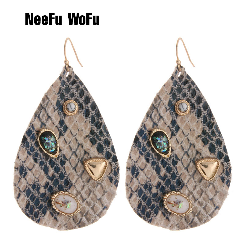 NeeFu WoFu Snake Earring Tiger Leather Large Long Water Drop Big Earrings  Woman stick Brinco Ear Oorbellen Christmas Gift f31853935942