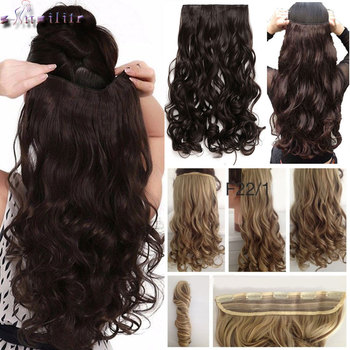 S-noilite Long wavy Clip in One Piece Hair Extension half head real natural hair Synthetic clip in Hairpiece for women 1