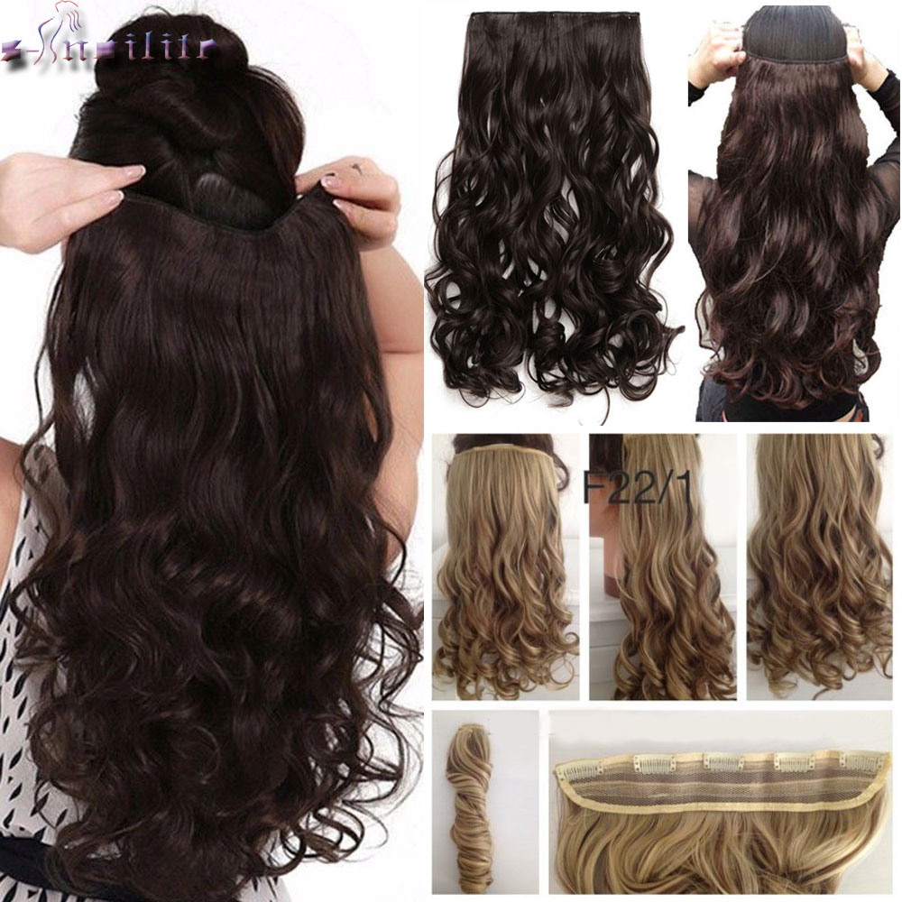 S-noilite Long wavy Clip in One Piece Hair Extension half head real natural hair Synthetic clip in Hairpiece for women(China)