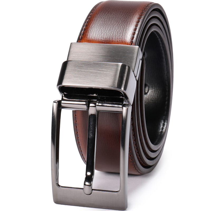 "Men/'s Dress belt Reversible Black//Tan Leather Belt Size 28-30/"" belt waist band"