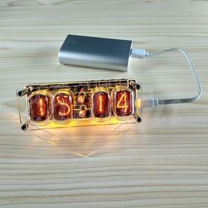 Image 2 - IN 12 Glow Buis Klok 4 bit IN12 gloed buis klok Zeven kleuren RGB LED DS3231 nixie klok IN 12B