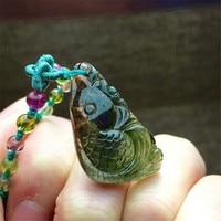 Genuine Natural Green Tourmaline Quartz Fish Shaped Women Fashion Charms Suspension Necklace Crystal Pendant 26*20*9.5mm