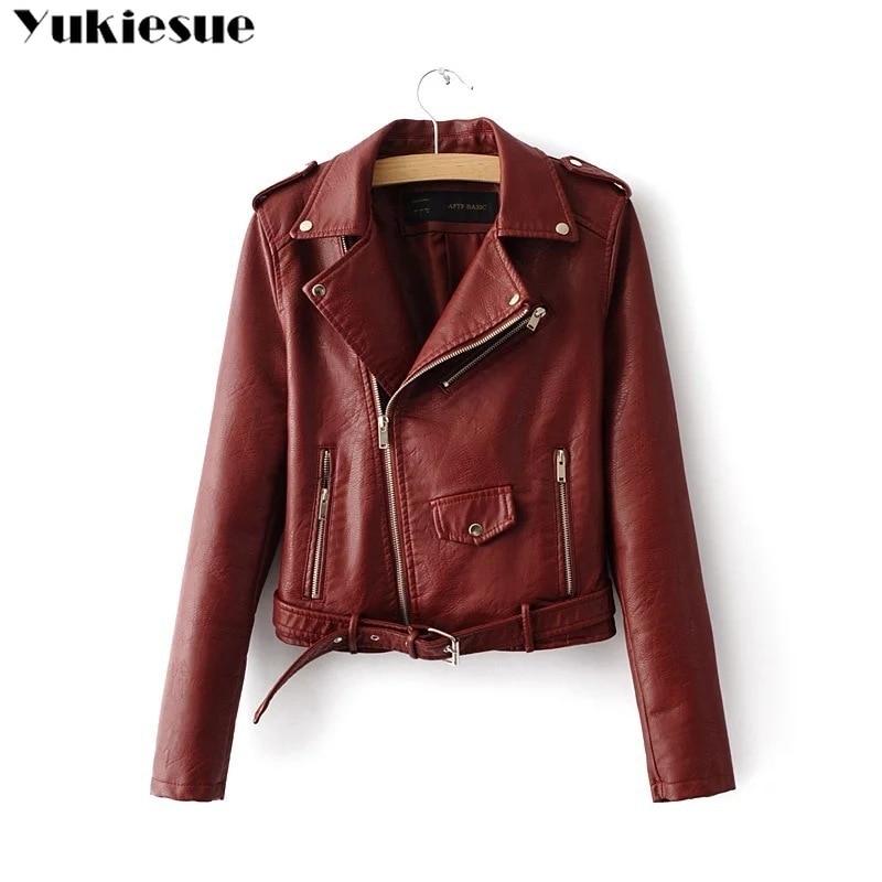 Pu   Leather   Jacket Women Fashion Bright Colors Black Motorcycle Coat Short Faux   Leather   Biker Jacket Soft Jacket Female
