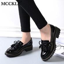 MCCKLE/Женская обувь на низком каблуке; сезон осень; модная женская обувь из лакированной кожи на платформе с кисточками; прошитая женская обувь без застежки