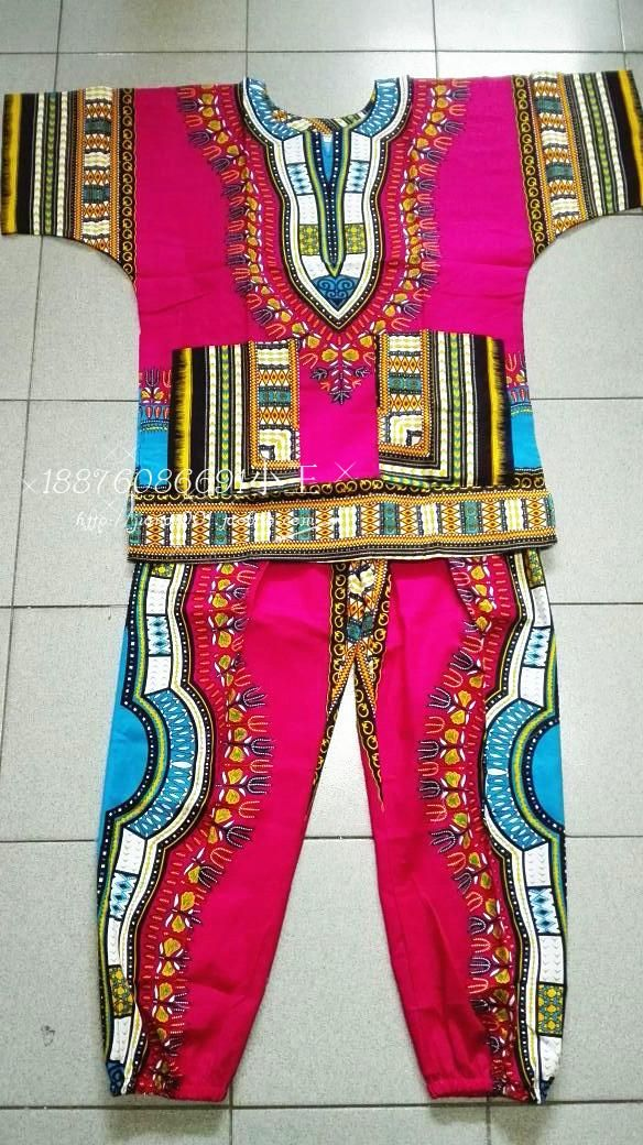 New african 100% cotton Dashiki dresses suit T-shirt and pants for kids children african traditional clothing D09 bazin riche