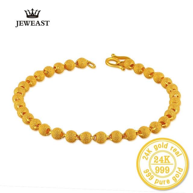 BBB 24K czystego złota bransoletka kobieta moda biżuteria koraliki do paznokci bransoletka złoty piasek Transport bransoletka dla kobiety Party prezent grzywny