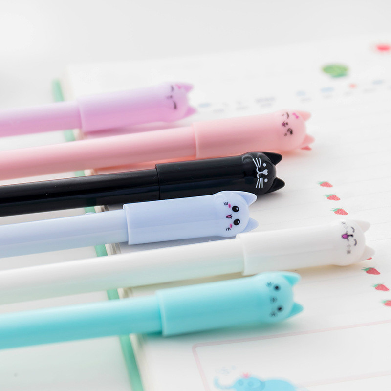 Korean creative stationery cute cat gel pen students use 0.5 full needle black fountain pen School Supplies Writing pensKorean creative stationery cute cat gel pen students use 0.5 full needle black fountain pen School Supplies Writing pens
