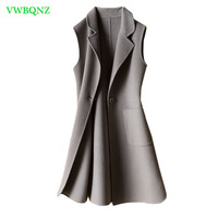 Double faced cashmere coat Vest Women Wool Warm Female Vests Covered Button Turn down Collar Long Style Winter Vests Coats A958