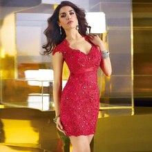 Vestidos de cóctel rojo sexy v-cuello delgado elegante cuello en v con lentejuelas de manga corta del cortocircuito del verano de 2017 para las mujeres party dress 03764