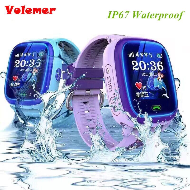 Volemer DF25 IP67 Swim GPS Touch Phone Children Smart Watch SOS Call Location Device Tracker Kids Safe Anti-Lost Monitor PK Q90 twox waterproof gw400s df25 kids gps watch smart baby watch phone sos call location device tracker anti lost monitor pk q100 q50