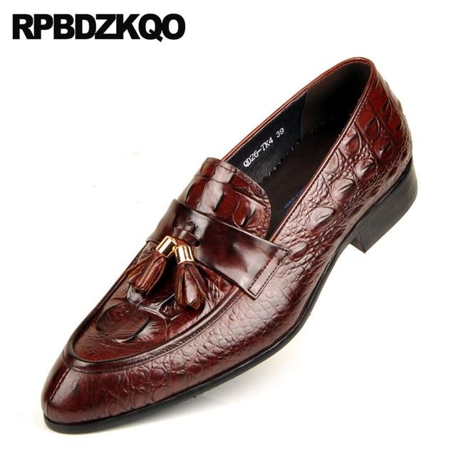 60202895ccd44 Alligator Tassel Italian Wedding Italy Loafers Men Dress Snake Black Brand Luxury  Crocodile Shoes Burgundy Snakeskin