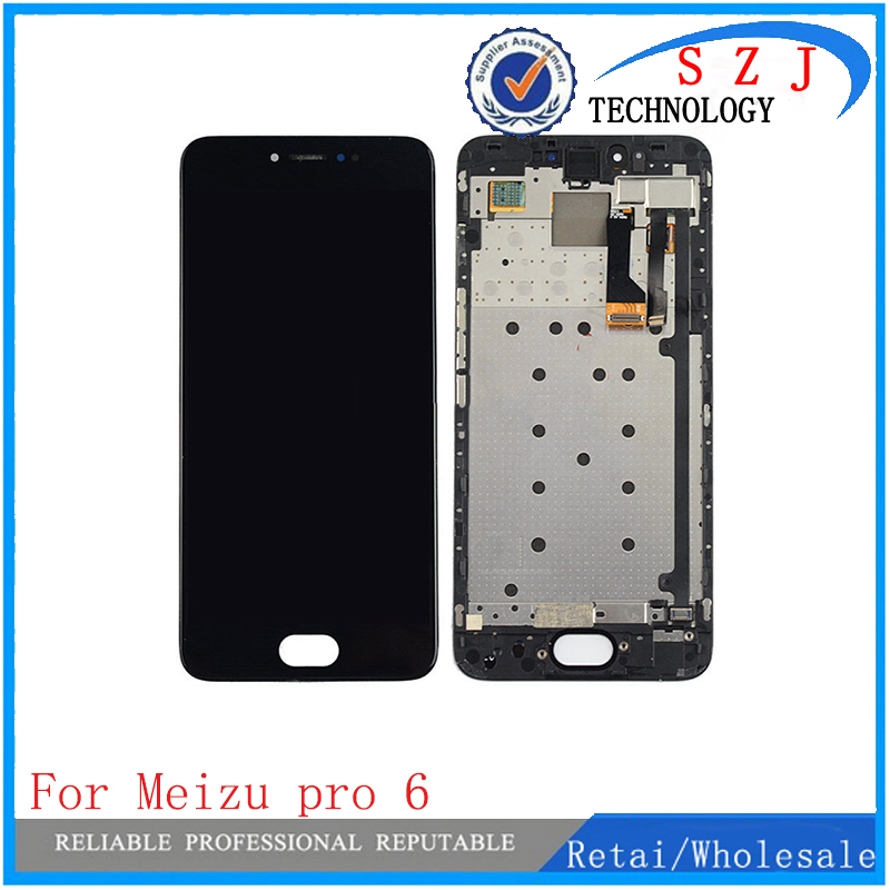 New 5.2 inch Amoled For Meizu Pro 6 Lcd Display with Touch glass Digitizer with Frame assembly replacement parts Free Shipping