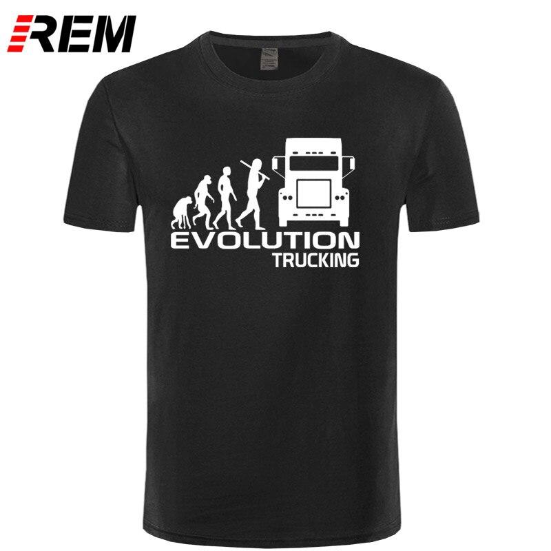 REM Brand Clothing EVOLUTION TRUCKING truck driver cab gift ideas Funny T Shirt Men Cotton Short Sleeve T-shirt Top Camiseta