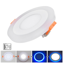 Cheap 3-modes Dual Color Led Recessed Ceiling Panel Light Corridor Room Hall Lamp White/Blue AC220V Spot Light For Indoor Office